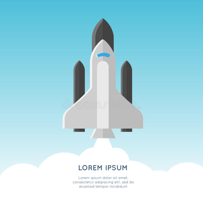 Start up vector concept illustration. launch of rocket royalty free stock photos