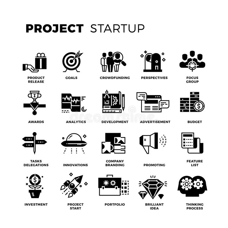 Start up, venture capital, entrepreneur vector icons set. Invest and promote project, collection of project management icons illustration royalty free illustration