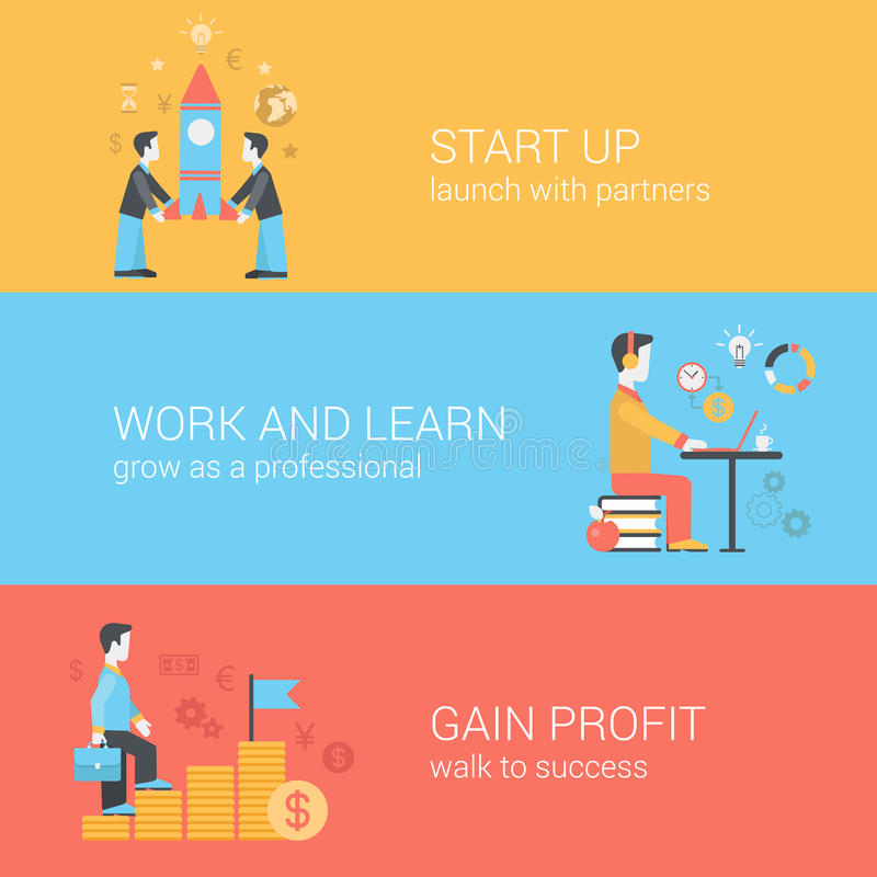 Start up, work and learn, gain profit flat web vector templates royalty free illustration
