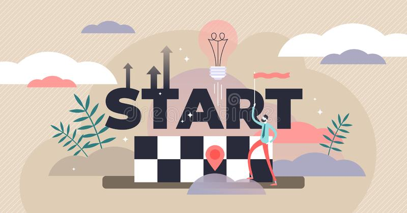 Start vector illustration. Flat tiny startup idea beginning persons concept. Abstract business or innovation development. Growth, up direction and progress vector illustration