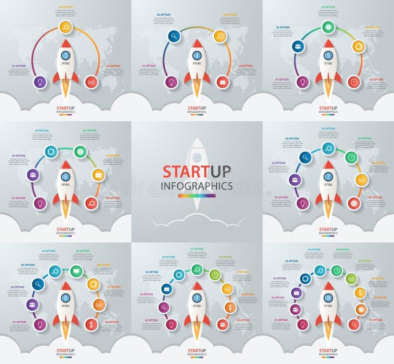 Start vectorcirkel infographic reeks met raketlancering stock illustratie