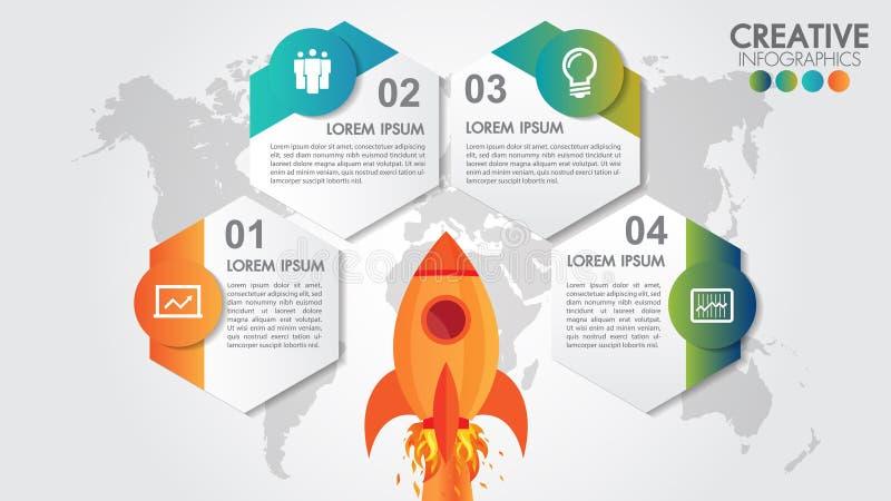 Start vectorcirkelinfographics met de lancering van de 4 optiesraket en gestileerde wereldkaart Ruimteschip die op opdracht, 4 el royalty-vrije illustratie