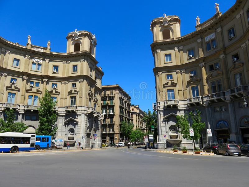 The start of the Via Roma street in Palermo, Italy. Viewed from Piazza Giulio Cesare royalty free stock photography