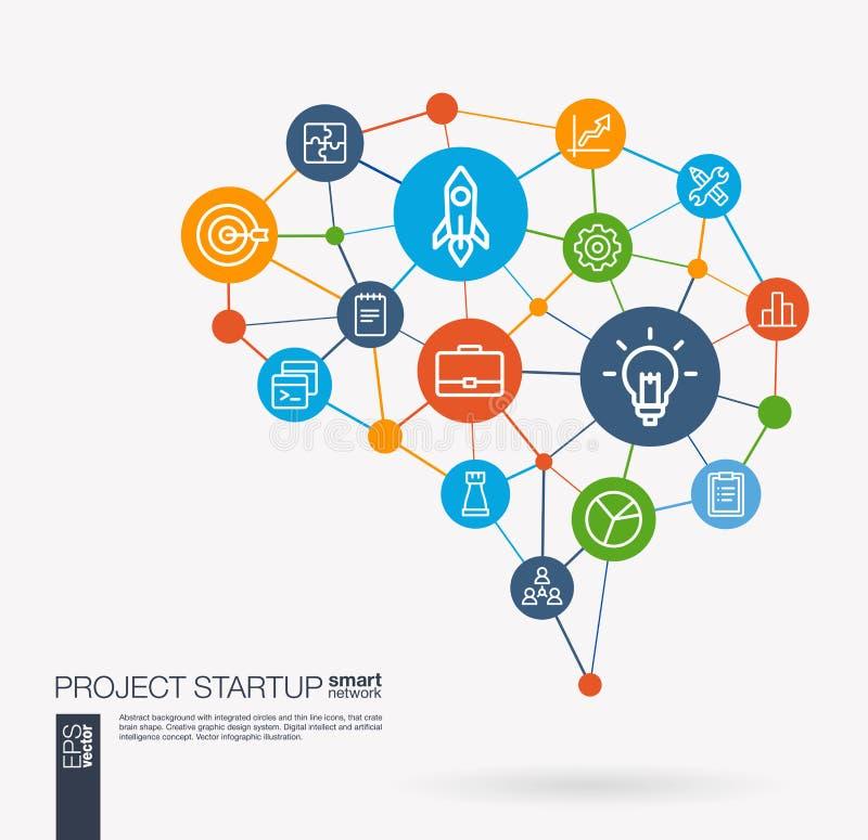 Start, Web-Entwicklung, Glühlampe, Raketenstart integrierte Geschäftsvektorikonen Intelligente Gehirnidee Digital-Masche vektor abbildung