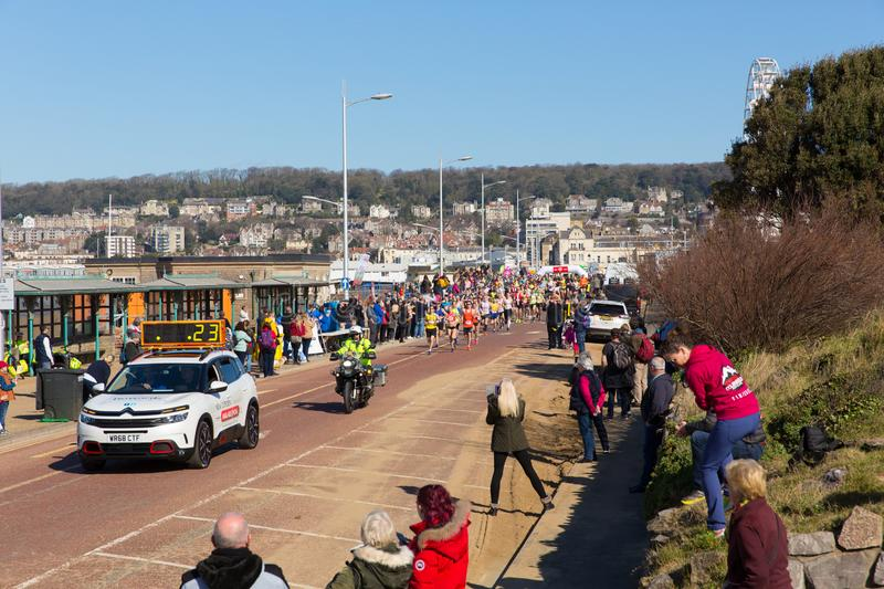 Start of Weston Super half marathon Weston-super-Mare Somerset on Sunday 24th March 2019 stock photo