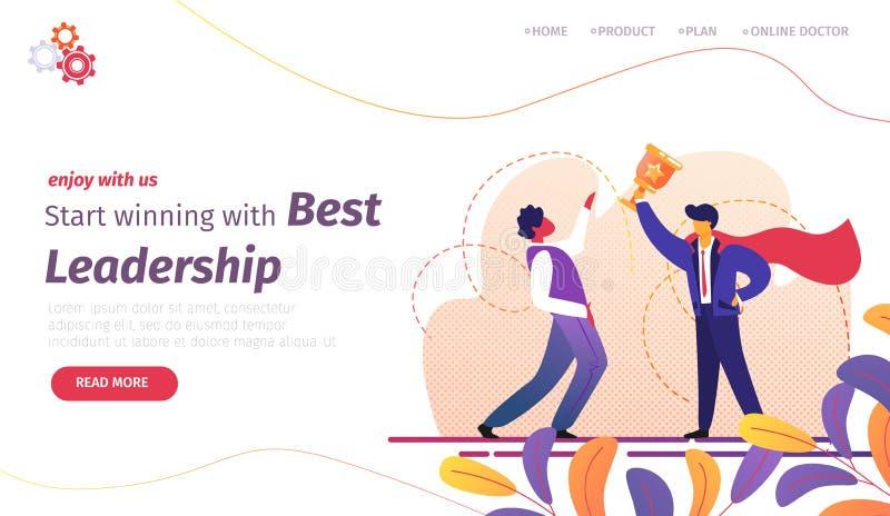 Start Winning with Best Leadership Banner. Success royalty free illustration
