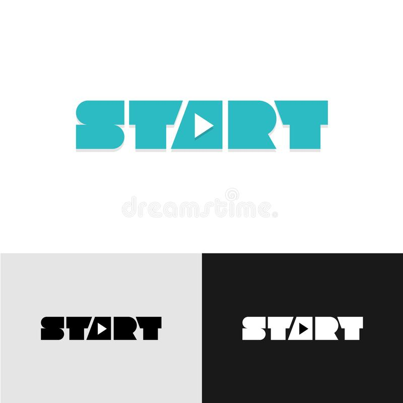 Start Word Text Logo With Play Triangle Symbol Inside Stock Vector