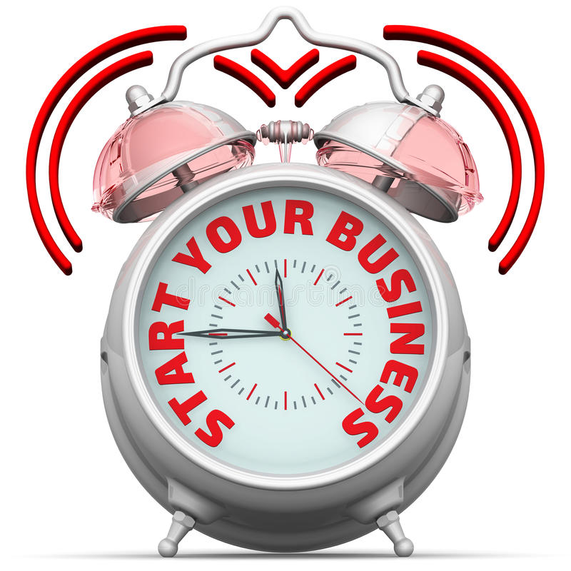 Download Start Your Business. The Alarm Clock With An Inscription Stock Illustration - Image: 83714853