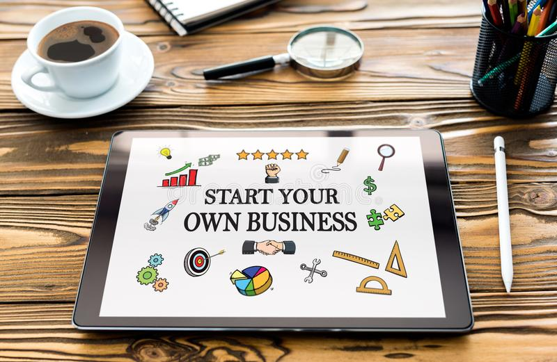 Start Your Own Business Concept on Digital Tablet. Screen stock photos