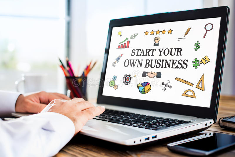 Start Your Own Business Concept On Laptop Monitor stock photo