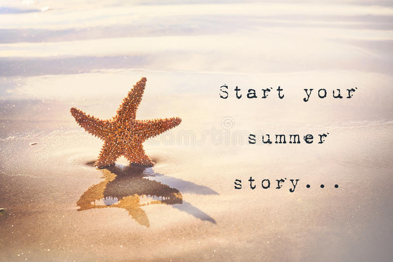 Start your summer story... Inspirational quotation. Inspirational quote with typewriter style text saying Start your summer story… Starfish on a golden stock photos