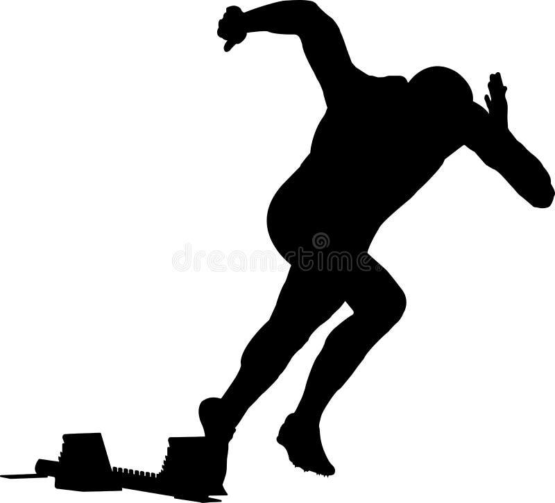Starta manlöparen av för att sprinta i startgrop stock illustrationer