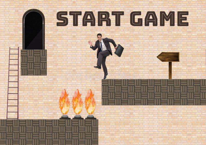Starta modig text och mannen i dataspelnivå med fällor och stegen stock illustrationer