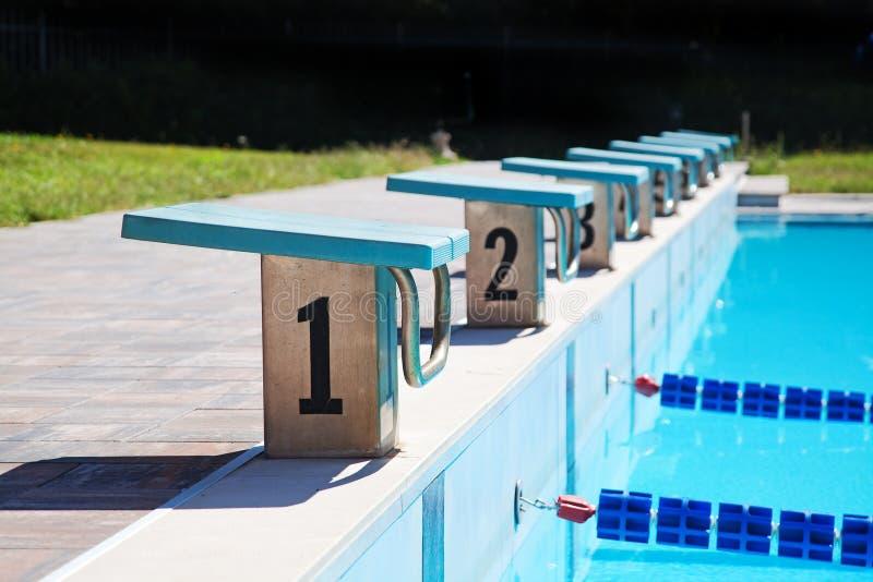 Starta ställen i simbassäng arkivfoton