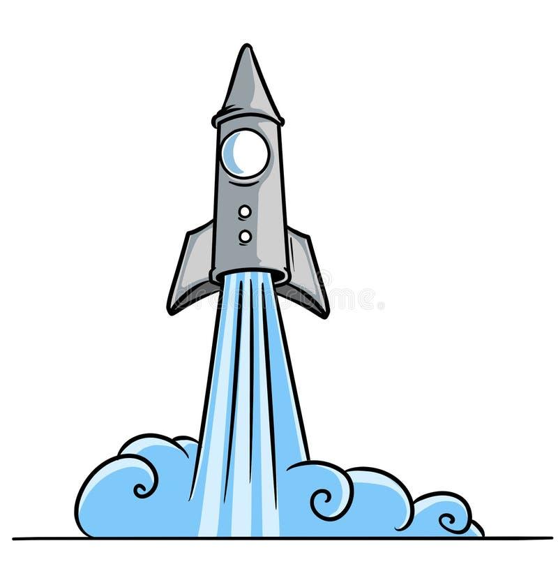 Starta tryckvåg-av ett raketkosmos stock illustrationer
