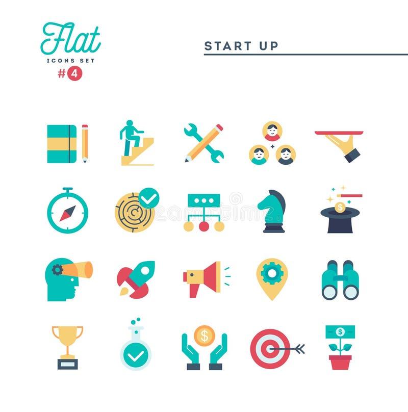 Starta upp affären, egenföretagande och mer, den tunna linjen symbolsse stock illustrationer
