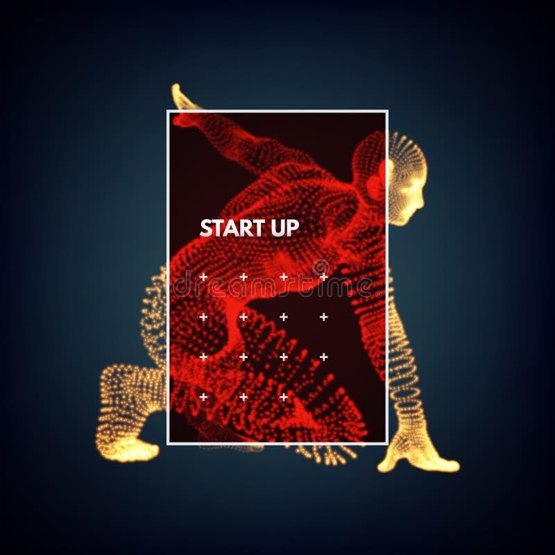 Starta upp affärsidéen Idrottsman nen på den startande positionen Löpare som är klar för sportövning royaltyfri illustrationer