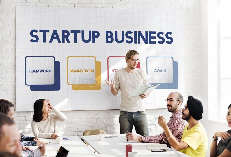 Starta upp begreppet för planläggningen för affärsstrategi arkivfoto