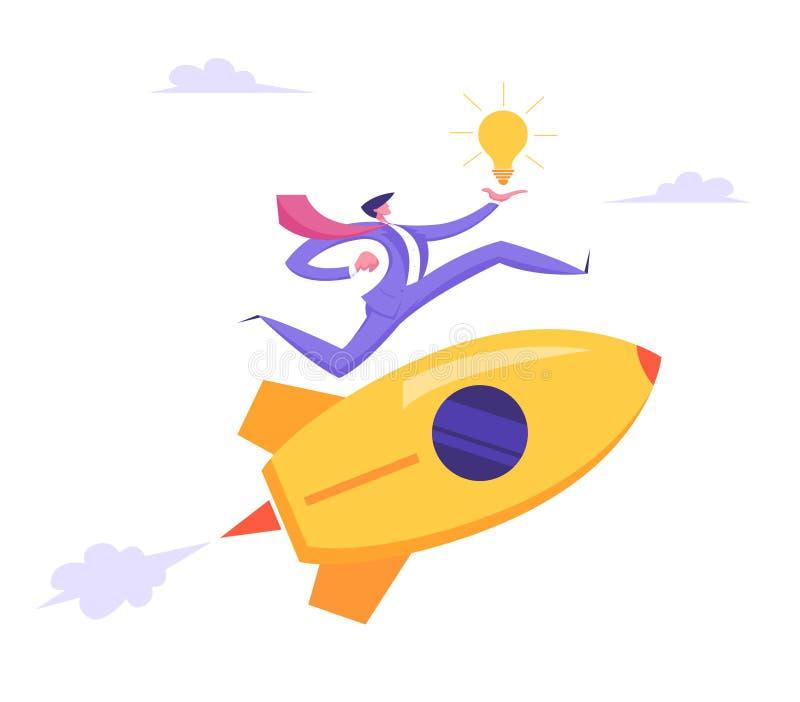 Starta upp id?begreppet Affärsprojekt med raket och affärsmannen Character Run med belysningkulan i hand royaltyfri illustrationer