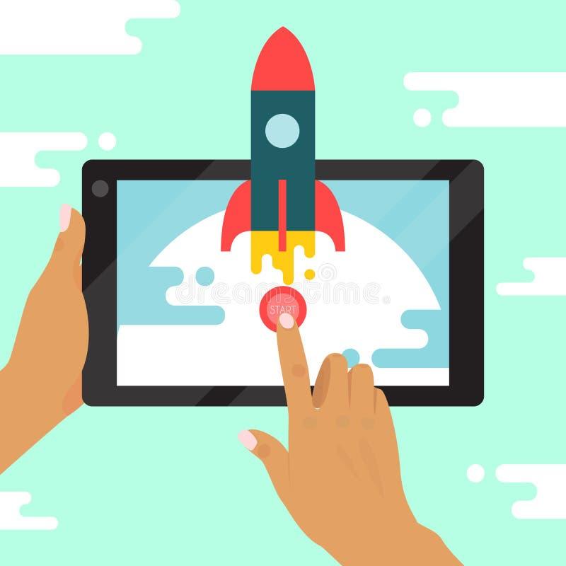 Starta upp illustrationen för begreppsbanervektorn Rocket Ship Ny utveckling för affärsprojektstart och att lansera ett nytt royaltyfri illustrationer