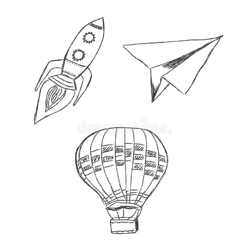 Starta upp, lanseringen, vektorn, illustrationen, uppsättning, skissa vektor illustrationer