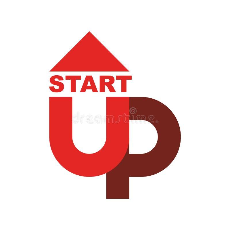 Starta upp logoen Startup emblem Rinnande affär Få fallet r royaltyfri illustrationer