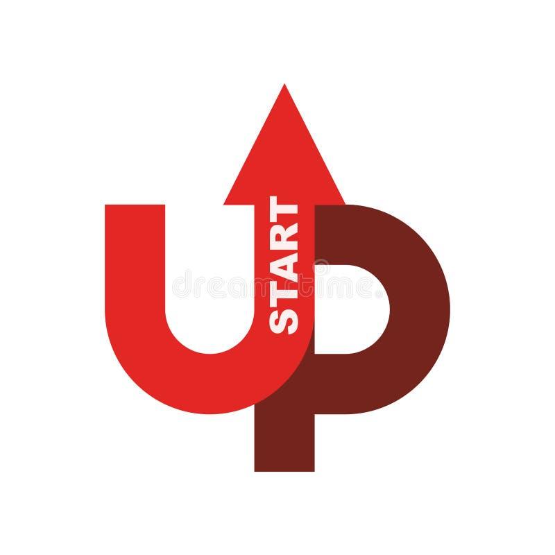 Starta upp logoen Startup emblem Rinnande affär Få fallet r stock illustrationer
