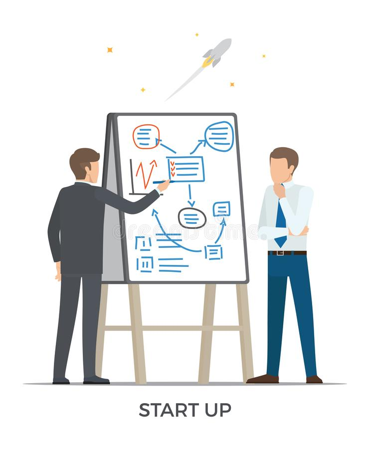 Starta upp och Rocket Vector Illustration White stock illustrationer