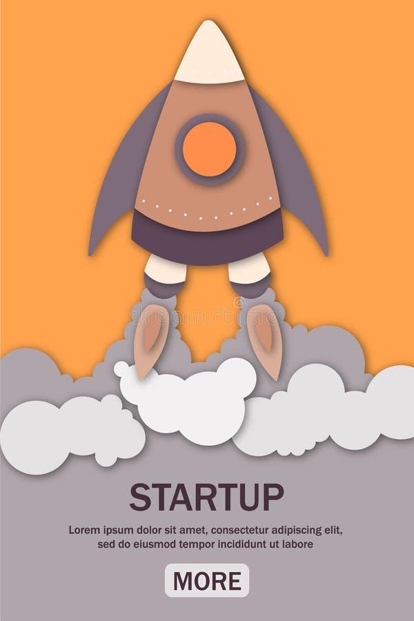 Startaffärsidé med raketlanseringen av webbsidor royaltyfri illustrationer