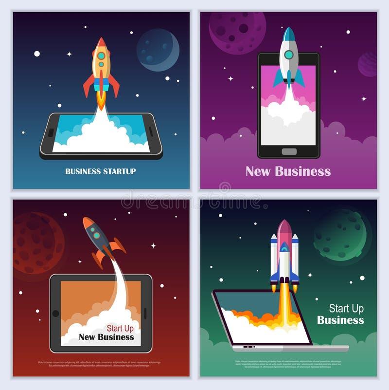 Startaffärsidéuppsättning stock illustrationer