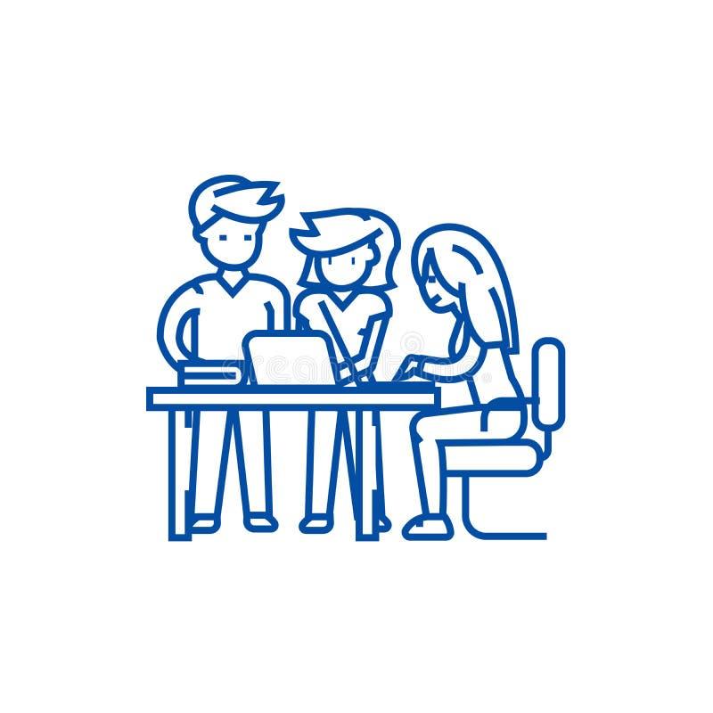 Startbüroteam, -mann und -frauen zeichnen Ikonenkonzept Startbüroteam, Mann und flaches Vektorsymbol der Frauen, Zeichen, Entwurf lizenzfreie abbildung