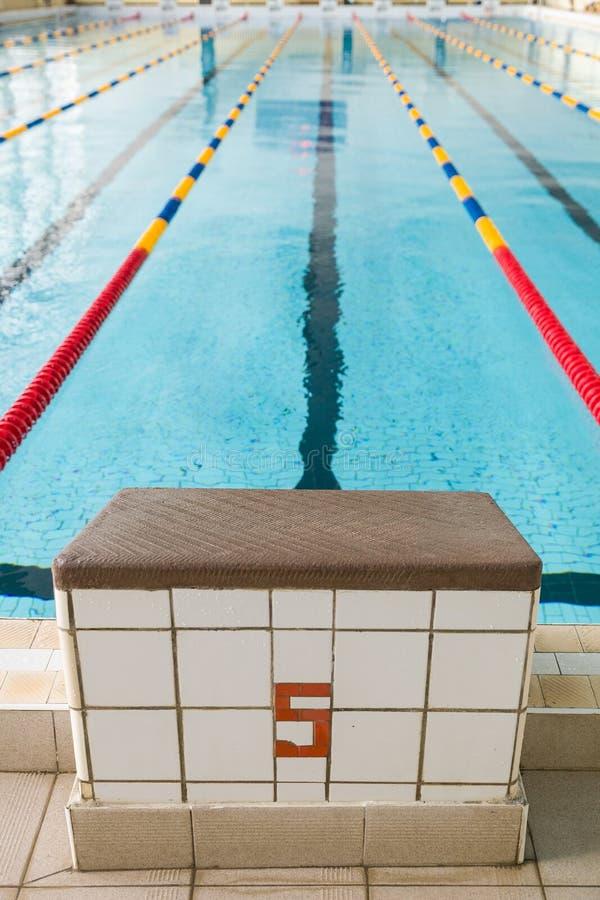 Startblokken en stegen in een zwembad Rand van binnen sport zwembad Sport en gezondheidsconcept royalty-vrije stock afbeelding