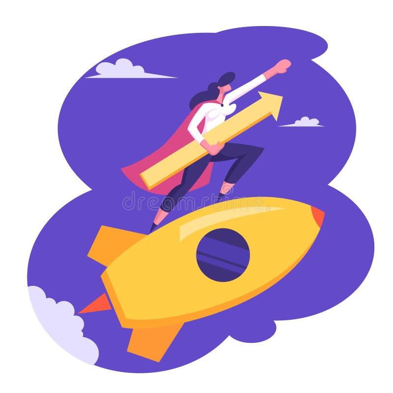 Startconcept met Gelukkige Superhero Businessperson Character Flying op Raket in Hemel met Pijl Underarm royalty-vrije illustratie