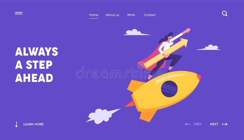 Startconcept met Gelukkige Superhero Businessperson Character Flying op Raket met Pijl Bedrijfs vrouw - 2 stock illustratie