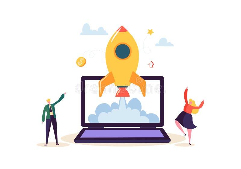 Startconcept met Springende Gelukkige Karakters Vlakke Bedrijfsmensen die Raket lanceren Nieuw Project Succesvol Opstarten stock illustratie