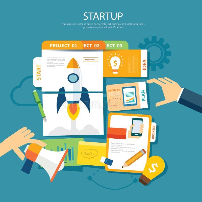 Startconcepten vlak ontwerp stock illustratie