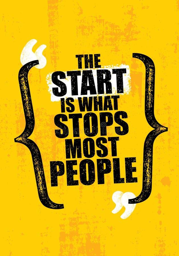 Starten är vad stoppar mest personer För motivationcitationstecken för idrottshall inspirerande idérik mall Vektortypografibaner vektor illustrationer