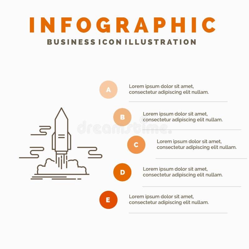 starten Sie, ver?ffentlichen Sie, App, Shuttle, Raum Infographics-Schablone f?r Website und Darstellung r lizenzfreie abbildung