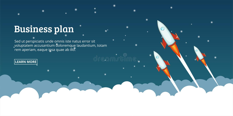 Startendes Konzept des Unternehmensplans, Karikaturart vektor abbildung