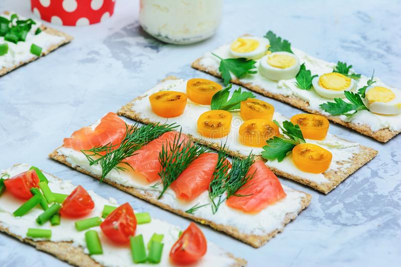 Starter Table with Mini Sandwich Healhty Snack Set stock photography