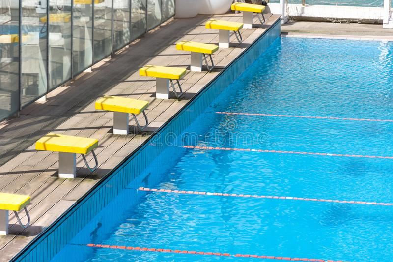 The Row Of Starting Blocks Of A Swimming Pool Stock Photo