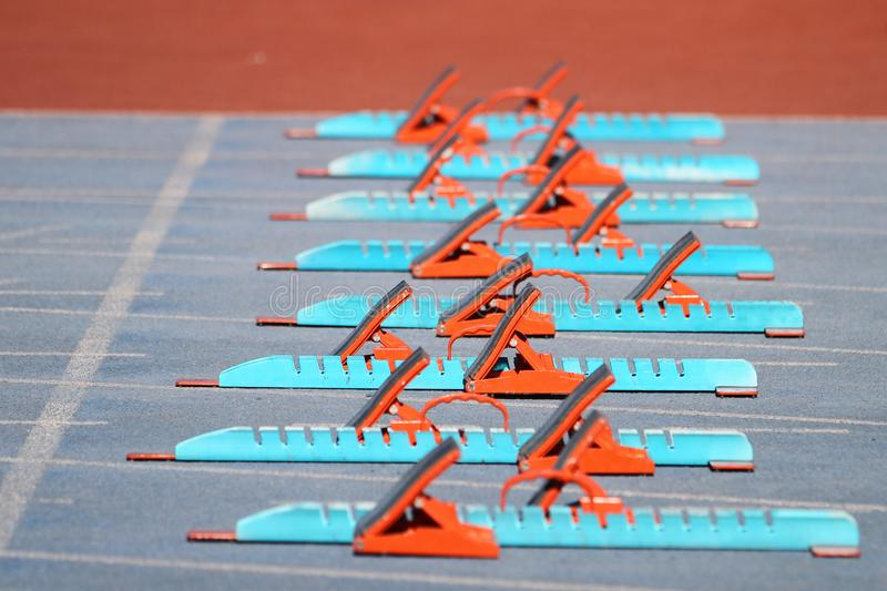 Starting Blocks in Track and Field. Blue and Orange Starting Blocks in Track and Field stock photo