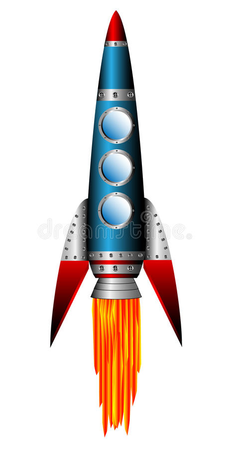 Starting blue rocket stock illustration