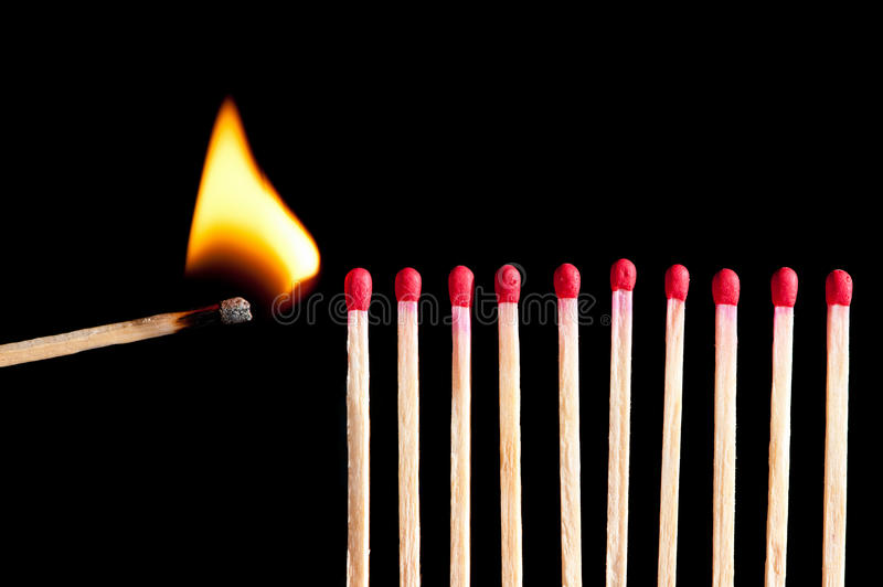 Starting the fire stock photography