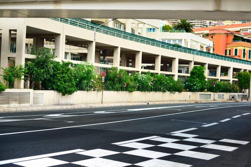 Starting grid asphalt Monaco Grand Prix circuit. Starting grid and pit lane asphalt on Monaco Montecarlo race Grand Prix street circuit royalty free stock photography