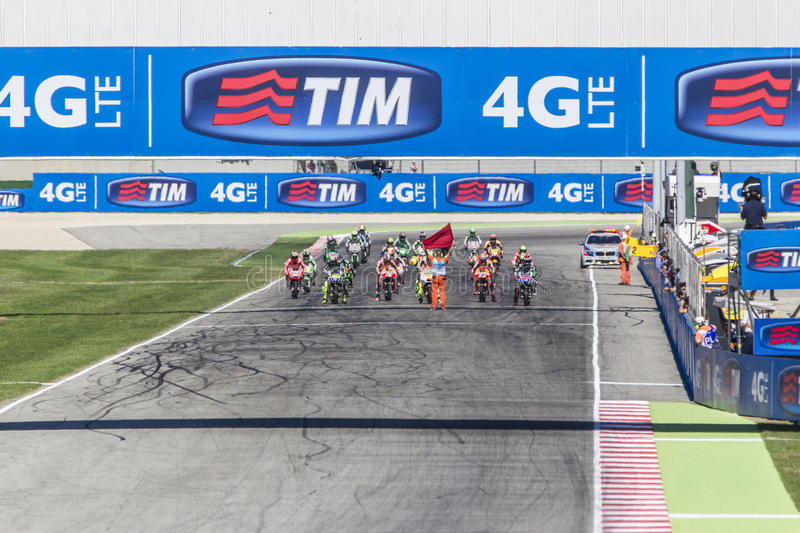 Starting grid of the MotoGP race in Misano royalty free stock photography