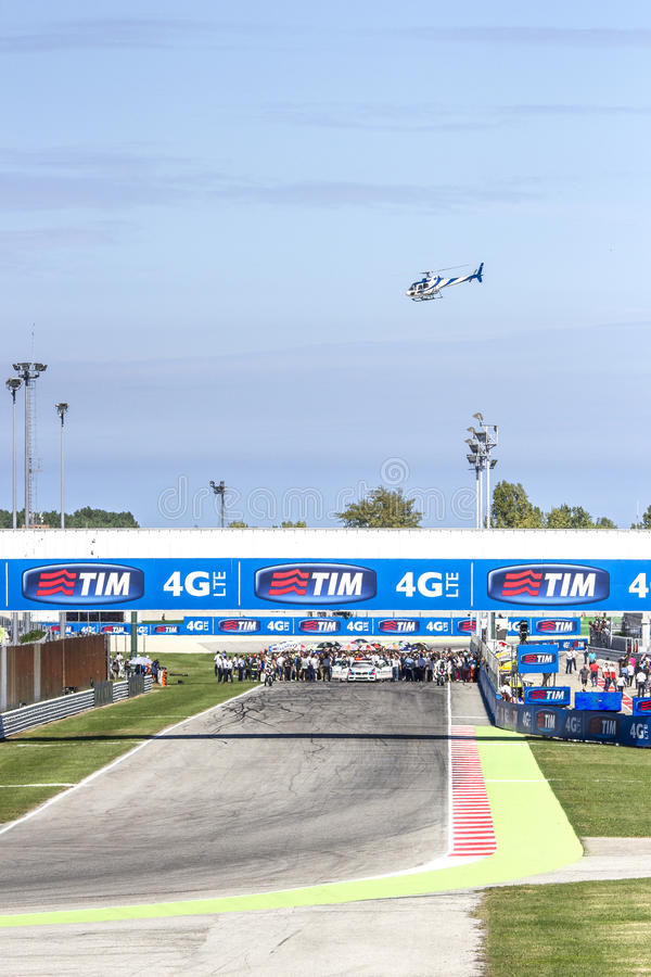 Starting grid of the MotoGP race in Misano stock photos