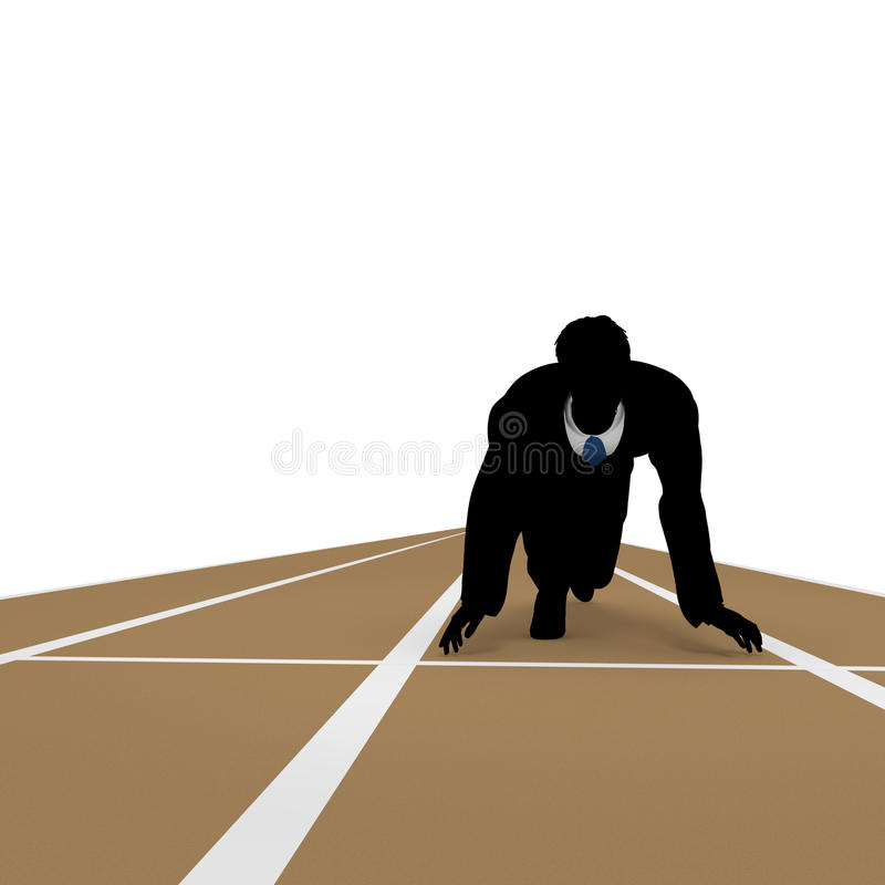 Starting line. Businessman take a pause. Work Good luck. I toward the goal. I get to the starting line. Ran continue vector illustration