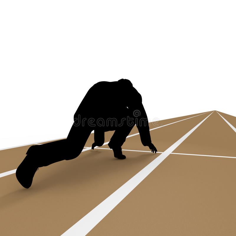 Starting line. Businessman take a pause. Work Good luck. I toward the goal. I get to the starting line. Ran continue stock illustration