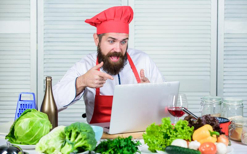 Starting new business. Cuisine culinary. Vitamin. Vegetarian salad with fresh vegetables. Healthy food cooking. Mature. Hipster with beard. Happy bearded man stock image